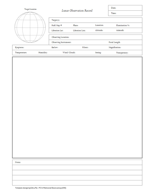 Observation Forms/Templates | PCW Memorial Observatory - Erika Rix