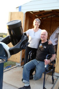 Fred and Melissa Ruof with their donated roll-off observatory and telescopes.