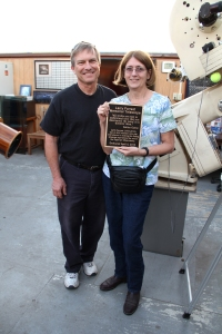 Sharleen Forrest with dedication plaque for